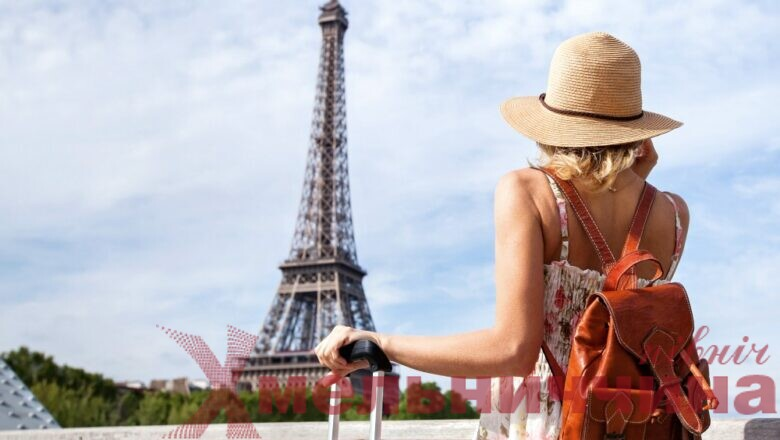 tourist backpacker in Paris, travel in Europe, France