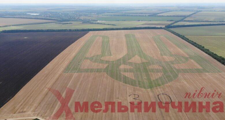 До Дня Незалежності аграрії висадили рекордний герб (відео)